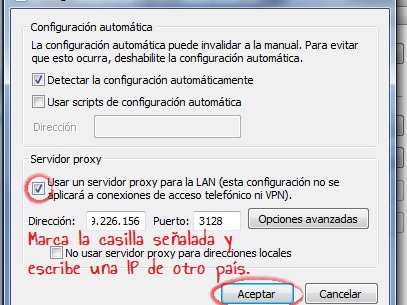 C mo configurar un proxy manual cambiar ip info taringa for Proxe vigila 3 manuale