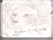 segundo dibujo del hoy... Lady gaga (born this way)